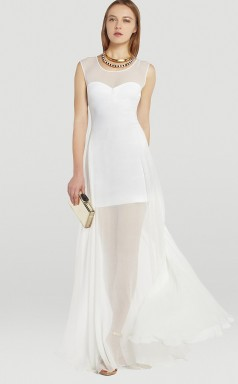 White A-line Straps Silk Like Chiffon Long Ball Dresses (NZJT06190)