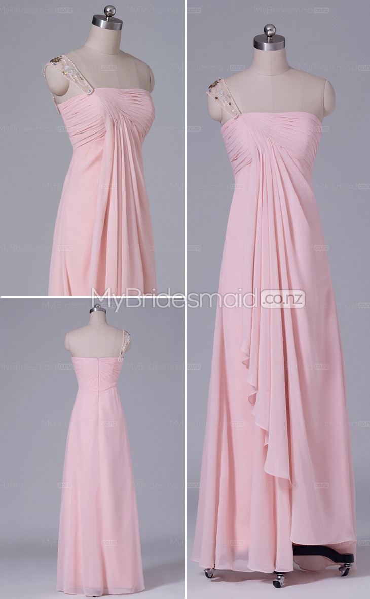 One Shoulder Sheath/Column Chiffon Short bridesmaid dress nz NZBD06438