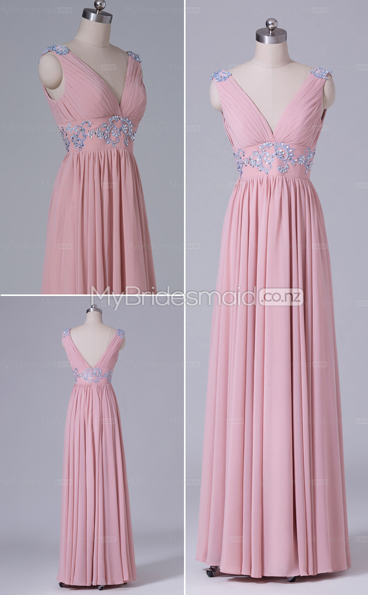 Chiffon V-neck Long A-line bridesmaid dress nz NZBD06470