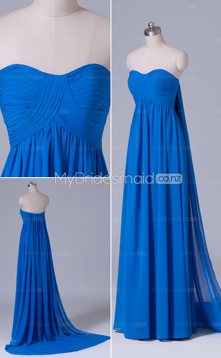 Ocean blue chiffon a line sweetheart long bridesmaid for Ocean blue wedding dress