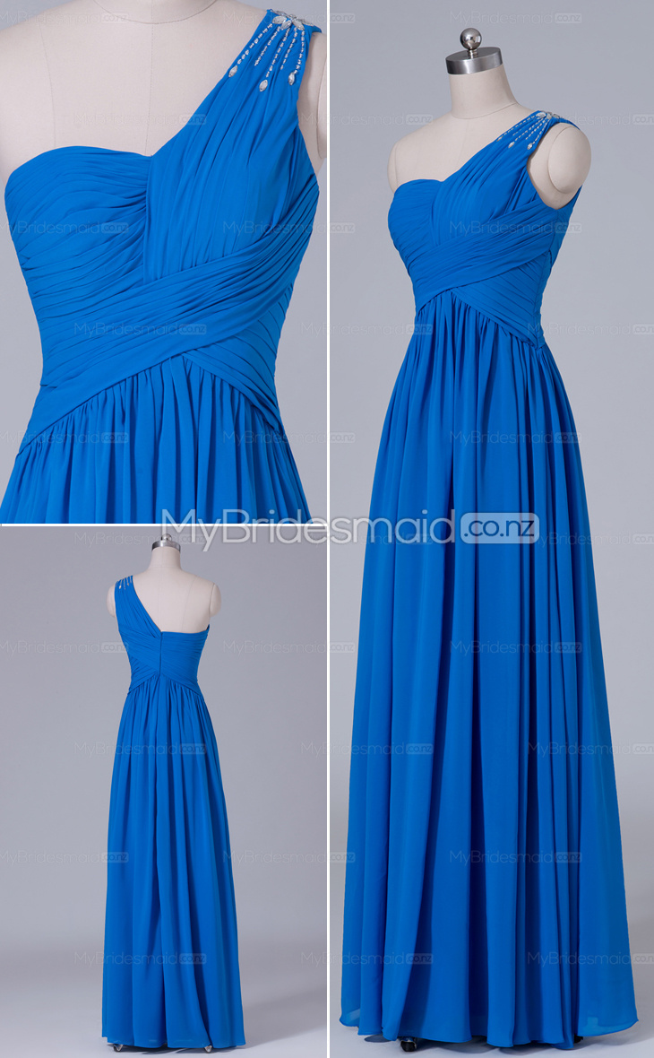 Ocean blue chiffon a line one shoulder long bridesmaid for Ocean blue wedding dress