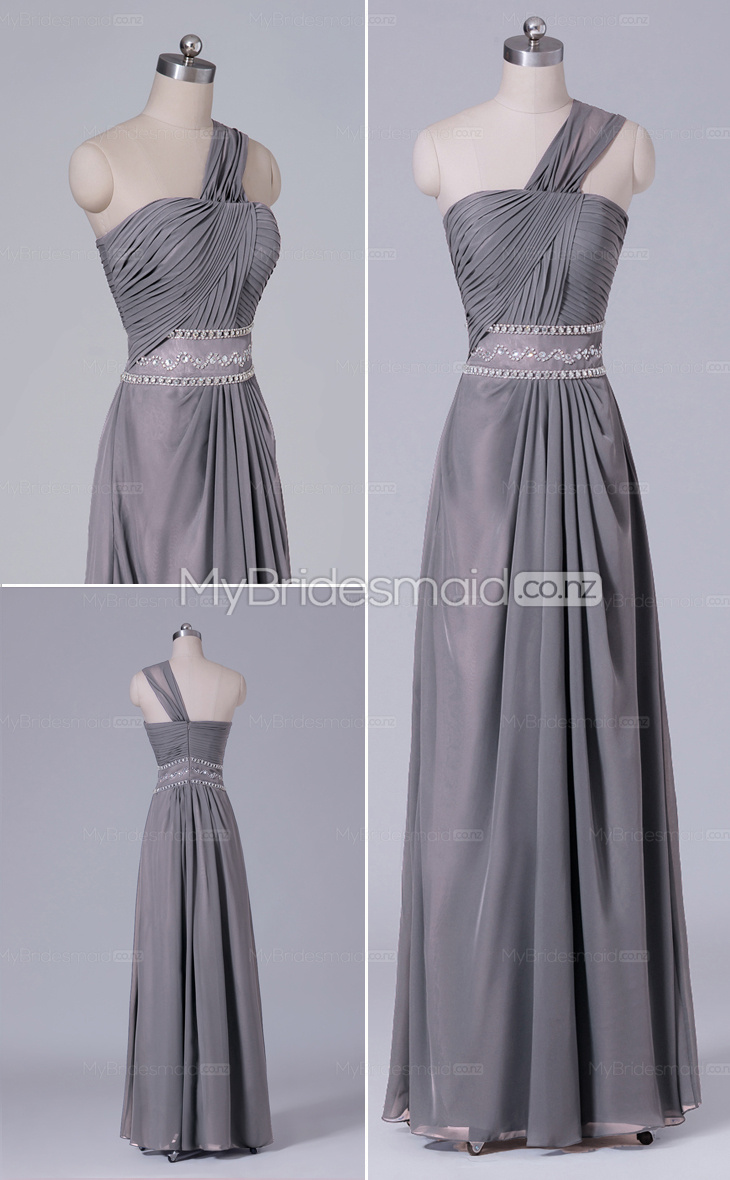 Long Chiffon One Shoulder A-line bridesmaid dress nz NZBD06492