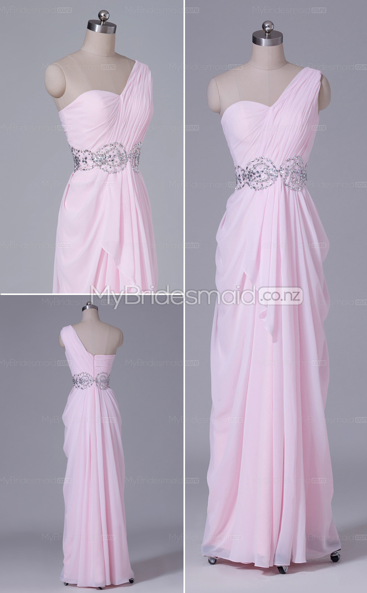Long A-line Chiffon One Shoulder bridesmaid dress nz NZBD06517
