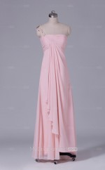 Long One Shoulder Sheath Pearl Pink Chiffon Wholesale Bridesmaid Dress BD-NZS438