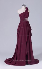 A Line Chiffon One Shoulder Dark Burgundy Long Wholesale Clearance Price Bridesmaid Dress BD-NZS442