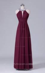 Long Halter A Line Dark Burgundy Chiffon Wholesale Bridesmaid Dress BD-NZS469