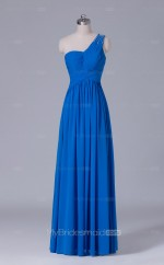 Blue Chiffon A Line One Shoulder Long Wholesale Clearance Price Bridesmaid Dresses BD-NZS484