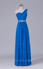 Chiffon A Line Long Blue One Shoulder Wholesale Clearance Price Bridesmaid Dress BD-NZS497
