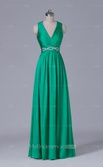 V Neck A Line Long Chiffon Green Wholesale Clearance Price Bridesmaid Dress BD-NZS505