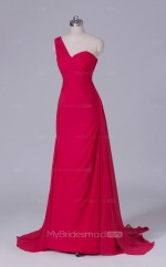 Sheath Chiffon One Shoulder Light Red Long Wholesale Clearance Price Bridesmaid Dress BD-NZS516