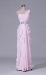 Blushing Pink Long One Shoulder Chiffon A Line Clearance Price Bridesmaid Dress BD-NZS517