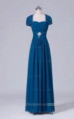 Chiffon A Line Long Aegean Sweetheart Neck Wholesale Clearance Price Bridesmaid Dress with Short Sleeves BD-NZS537