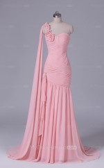 Pink Long One Shoulder Chiffon Mermaid Wholesale Clearance Price Bridesmaid Dress BD-NZS545