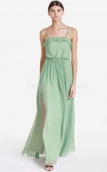 Sage Chiffon Sheath Straps Long Bridesmaid Dresses (NZBD06058)