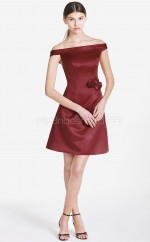 Burgundy Satin A-line Off The Shoulder Short Bridesmaid Dresses (NZBD06059)