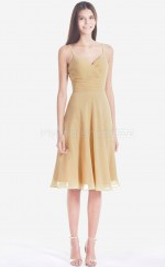 Champagne Chiffon A-line Straps Knee-length Bridesmaid Dress For Beach(NZBD06060)