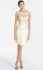 Ivory Matte Satin , Lace Sheath V-neck Short Bridesmaid Dresses (NZBD06064)