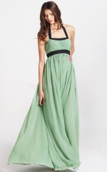 Sage Chiffon A-line Halter Long Bridesmaid Dresses (NZBD06078)