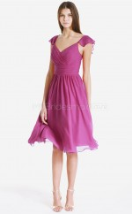 Fuchsia Chiffon Princess V-neck Knee-length Bridesmaid Dress For Beach(NZBD06080)