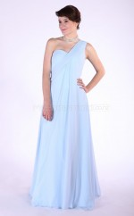 Sky Blue Chiffon A-line One Shoulder Long Bridesmaid Dresses (NZBD06082)
