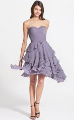 Lilac Chiffon Princess Sweetheart Neckline Short Bridesmaid Dress For Beach(NZBD06085)