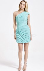 Sky Blue Chiffon Sheath One Shoulder Short Bridesmaid Dresses (NZBD06088)