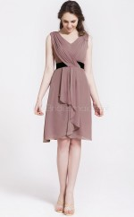 Nude Pink Chiffon , Stretch Satin A-line V-neck Short Vintage Bridesmaid Dresses (NZBD06090)
