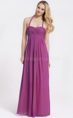 Fuchsia Chiffon , Stretch Satin A-line Halter Long Bridesmaid Dresses (NZBD06092)