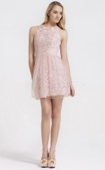 Pink Lace , Tulle Princess Jewel Neckline Short Bridesmaid Dresses (NZBD06093)