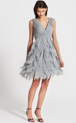 Silver Chiffon A-line V-neck Short Bridesmaid Dress For Beach(NZBD06103)