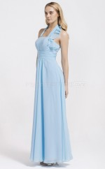 Sky Blue Chiffon Sheath Halter Long Bridesmaid Dresses (NZBD06105)