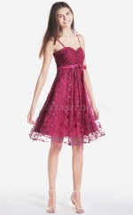 Fuchsia Lace Princess Straps Knee-length Bridesmaid Dresses (NZBD06106)