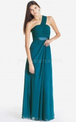 Ink Blue Chiffon Sheath One Shoulder Long Bridesmaid Dresses (NZBD06107)
