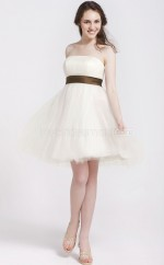 White Tulle Princess Strapless Short Vintage Bridesmaid Dresses (NZBD06108)