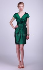 Dark Green Taffeta Sheath V-neck Short Bridesmaid Dresses (NZBD06111)