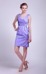 Lavender Satin A-line V-neck Knee-length Bridesmaid Dresses (NZBD06112)