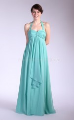 Sky Blue Chiffon A-line Halter Long Bridesmaid Dresses (NZBD06113)
