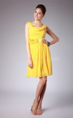Yellow Chiffon A-line Halter Short Bridesmaid Dress For Beach(NZBD06114)