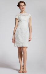 White Lace A-line Scalloped Neckline Short Vintage Bridesmaid Dresses (NZBD06119)