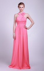 Watermelon Chiffon A-line Halter Floor-length Vintage Bridesmaid Dresses (NZBD06120)