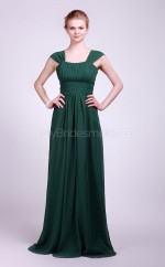 Dark Green Chiffon A-line Straps Long Bridesmaid Dresses (NZBD06121)