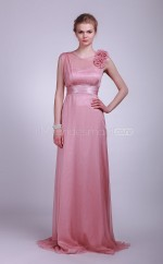 Nude Pink Chiffon A-line V-neck Long Bridesmaid Dresses (NZBD06125)