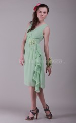Sage Chiffon Princess V-neck Knee-length Bridesmaid Dress For Beach(NZBD06134)