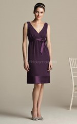 Grape Satin , Charmeuse A-line V-neck Knee-length Bridesmaid Dresses (NZBD06137)