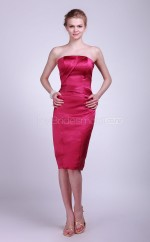 Fuchsia Satin Sheath Strapless Knee-length Bridesmaid Dresses (NZBD06138)