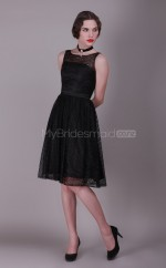 Black Lace A-line Jewel Neckline Knee length Vintage Bridesmaid Dresses (NZBD06140)