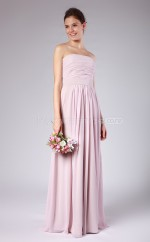 Lilac Chiffon Sheath Strapless Long Bridesmaid Dresses (NZBD06146)