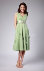 Sage Chiffon A-line V-neck Knee-length Bridesmaid Dress For Beach(NZBD06147)