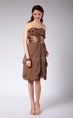 Brown Chiffon A-line Sweetheart Knee-length Bridesmaid Dress For Beach(NZBD06148)
