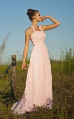 Pink Silk Like Chiffon Princess Halter Floor-length Vintage Bridesmaid Dresses (NZBD06150)